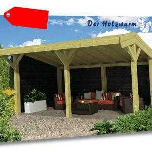 Gartenpavillon Tongeren ca. 600x390 cm Gartenhaus Gartenlaube Offene Scheune