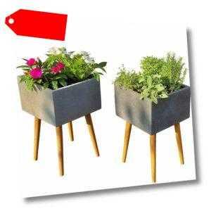 Hochbeet Blumenkasten Gemüsebeet Pflanzbeet Kräuterbeet Blumenbeet Beton Holz