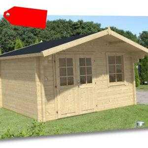 Gartenhaus Mona-70 Holz 380x380 cm 70 mm Satteldach Blockhaus Gerätehaus Laube