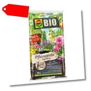 COMPO BIO Pflanzerde 100% torffrei Blumenerde, 50 Liter