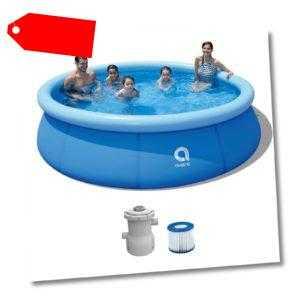 Swimming Pool mit Filterpumpe + Leiter - Gartenpool 366 x 91 cm