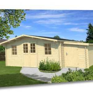 34 mm Gartenhaus 500x500 cm + ANBAUSCHUPPEN Holz Gerätehaus Schuppen Holzhaus