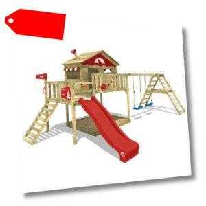 WICKEY Spielturm Kletterturm Smart Ocean Klettergerüst Schaukel rote Rutsche