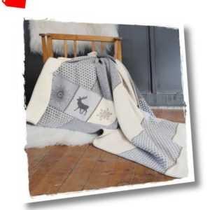 SYLT grau Baumwoll Flanell Decke mit Taschen 140x200cm *MT David