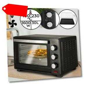 Minibackofen mit Umluft 30L 1600W Grill Rost Mini Ofen Toastofen...