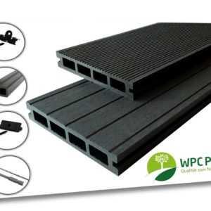 WPC Profi Terrassendielen Garten Premium Dielen 25 mm Bausatz Set 12 - 68 m²