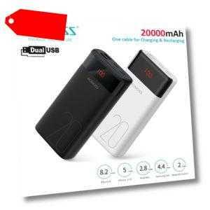 ROMOSS Powerbank 20000mAh Externer Zusatz-Akku 2*USB schnell Ladegerät Für Handy
