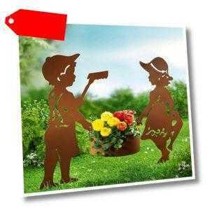 Gartenstecker Metall Pflanztopf Edel Rost-Optik Mädchen Junge figur Deko