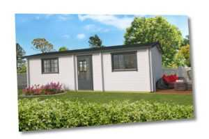 70mm Ferienhaus ISO (3 Räume) 844x347cm Blockhütte Holzhaus Gartenhaus Holzhütte