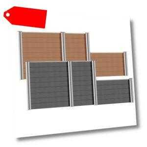 Sichtschutzzaun WPC Zaun Lamellenzaun Gartenzaun Alu-Pfosten Terrasse Lärmschutz