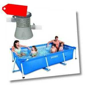 INTEX Schwimmbecken Family Swimming Pool Frame 220x150x60cm + Poolpumpe 1250l/h