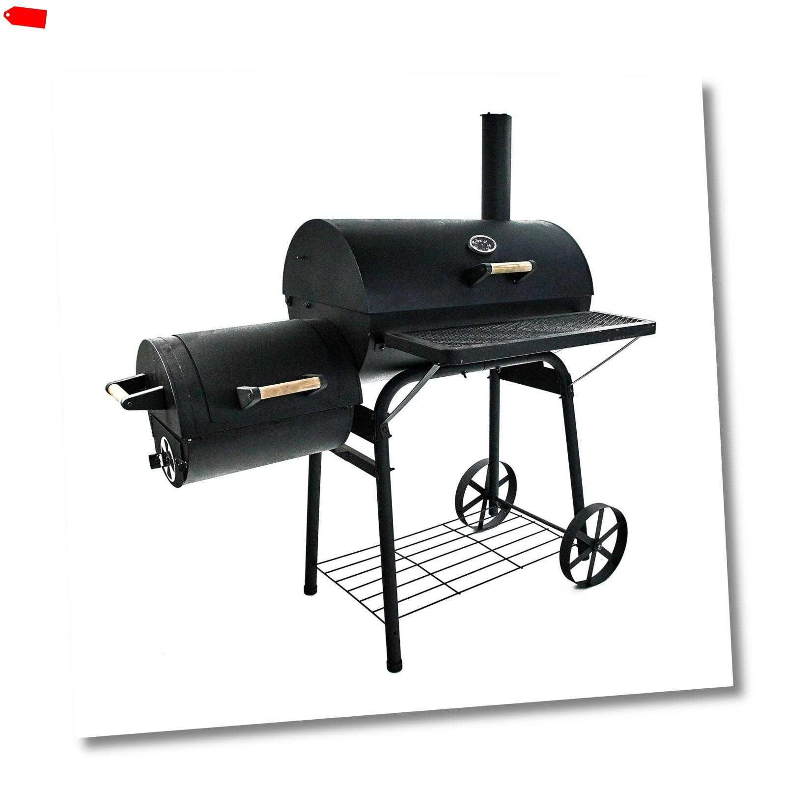 Smoker Holzkohlegrill BBQ  Grillwagen Räuchergrill Räucherofen 32 KG schwer