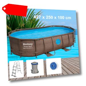 Bestway Power Steel 427x250x100cm Pool Filterpumpe und Zubehör Gartenpool 56714
