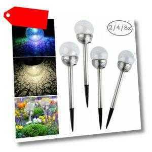 DE LED Solarlampe, Solarleuchte, Solar Glaskugel Farbwechsel Gartenleuchte Lampe