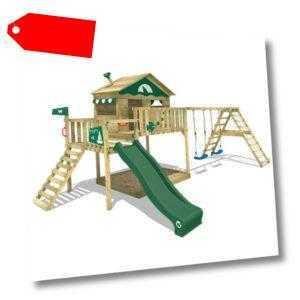 WICKEY Spielturm Kletterturm Smart Ocean Klettergerüst Schaukel grüne Rutsche