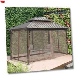 Pavillon mit Seitenwände Partyzelt mit Doppeldach Festzelt Gartenlaube Aluminium