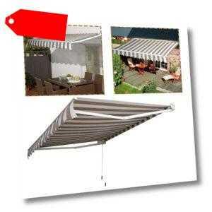 Terrasse Sonnenschutz 3m x 2.5m mit Gelenkarm Alu Sonnenmarkise Kassettenmarkise