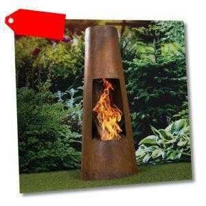 Terrassenofen 122cm Feuertonne Feuersäule Gartenkamin Feuerstelle Feuerschale
