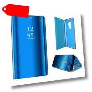 XIAOMI REDMI NOTE 9S - Etui Cover Case Mirror Tasche Hülle Handy CLEAR VIEW BLAU