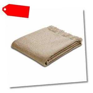 Biederlack Schurwoll-Plaid Sofadecke Wohndecke Fransen Wolle 130 x