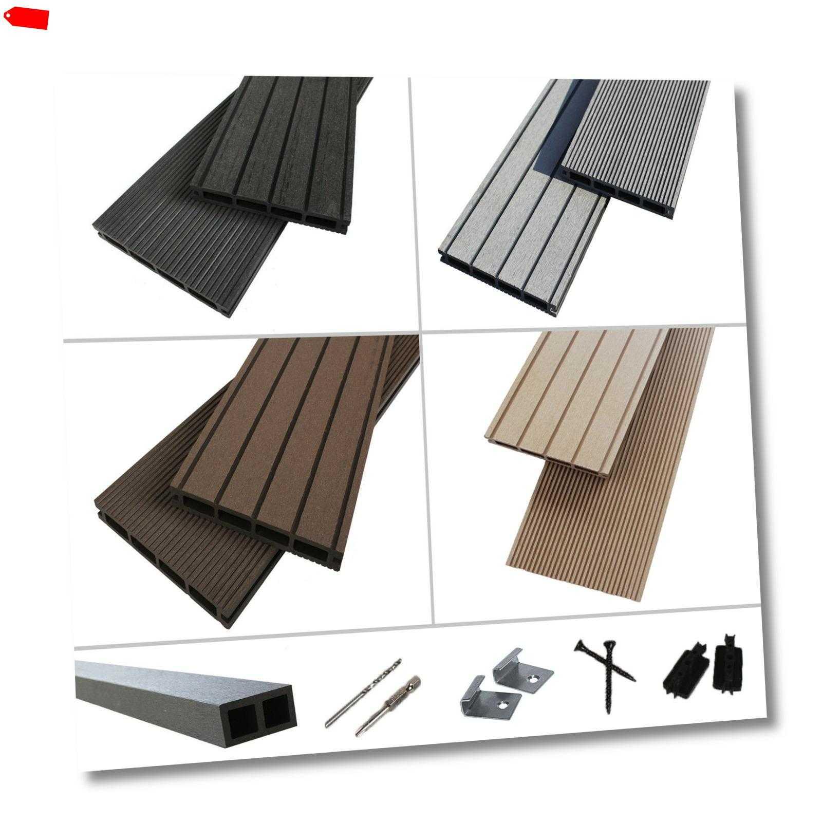 terrasso WPC BPC Terrassendielen Komplettbausatz Set 4 Farben 16-80m² Holz Diele