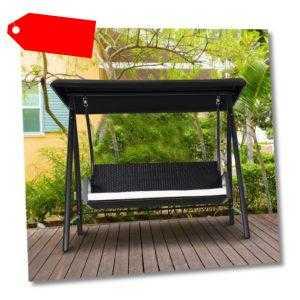 Hollywoodschaukel Polyrattan Schaukel 3-Sitzer Gartenschaukel mit Dach Schwarz