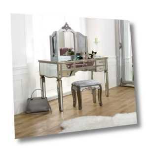 Groß Verspiegelt Schminktisch Set Stuhl Spiegel Vintage French Badezimmer Möbel