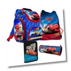 Disney CARS AUTO 4 Teile SCHULRANZEN RANZEN SCHULRUCKSACK Tasche Tornister Set