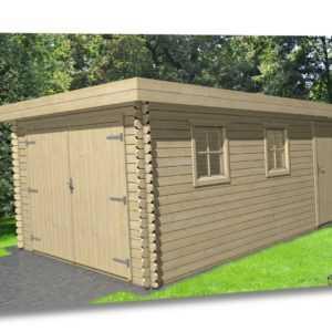 Holzgarage 28mm Flachdach Garage Holz mit Holztor - 3.3x5.1M -  Aurich EB28210