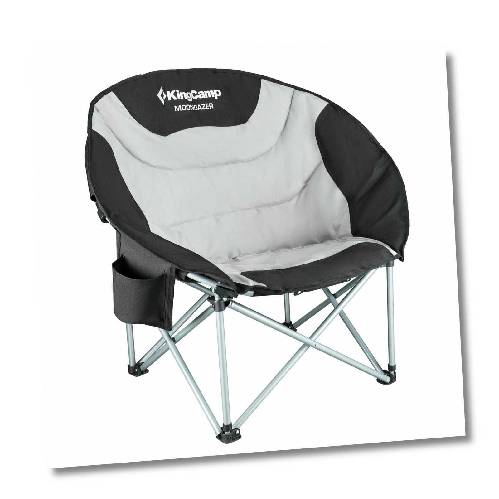 KINGCAMP MoonChair XL - Camping Klapp Stuhl Garten Falt Sessel Kühltasche 150 kg