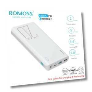 ROMOSS 20000mAh Powerbank USB-C 18W 3A Schnell Externe Akku Ladegerät für Handys
