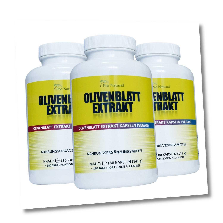 Olivenblatt Extrakt 650mg - 20% (130mg) Oleuropein 540 Kapseln, vegan 3 Packunge