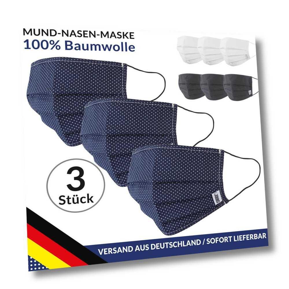 Stoffmaske 3er Set Mund Nasen Maske Baumwollmasken Behelfsmaske Masken Detex®