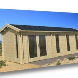 Gartenhaus NICE, 575x300 cm, 40 mm, 2 Räume, mit Boden, ISO-Glas TENE