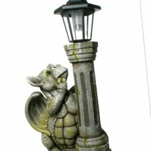 Gartenfigur Drachenkind an Solarlaterne 45cm Gartendrache Solarfigur LED Licht