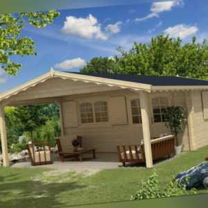 TOPGARDEN Gartenhaus Premium 5x5 m Clara + 3 m Vordach, 45mm, ISO-Glas, + Boden