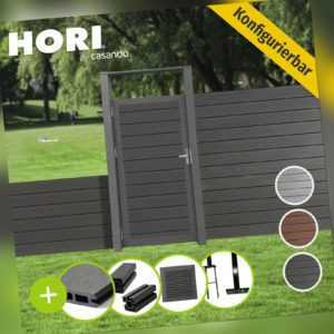 WPC Zaun Lamellenzaun Sichtschutzzaun Gartenzaun Windschutz Gartentor braun grau