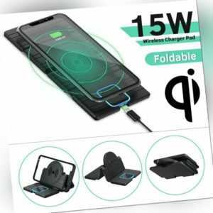 15W Fast Qi Faltbar Wireless Ladestation Ladegerät Charger für iPhone Huawei 5G