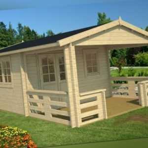 Topangebot! Gartenhaus 40 mm MONTANA ca. 400 x 595 cm Terrasse, ISO-Glas TENE