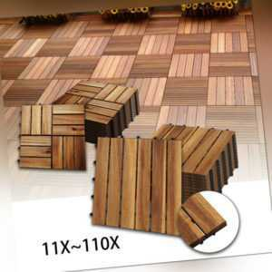 Holzfliesen Garten Terrassenfliese Akazie Bodenfliesen 30x30cm Platten Holz 11x