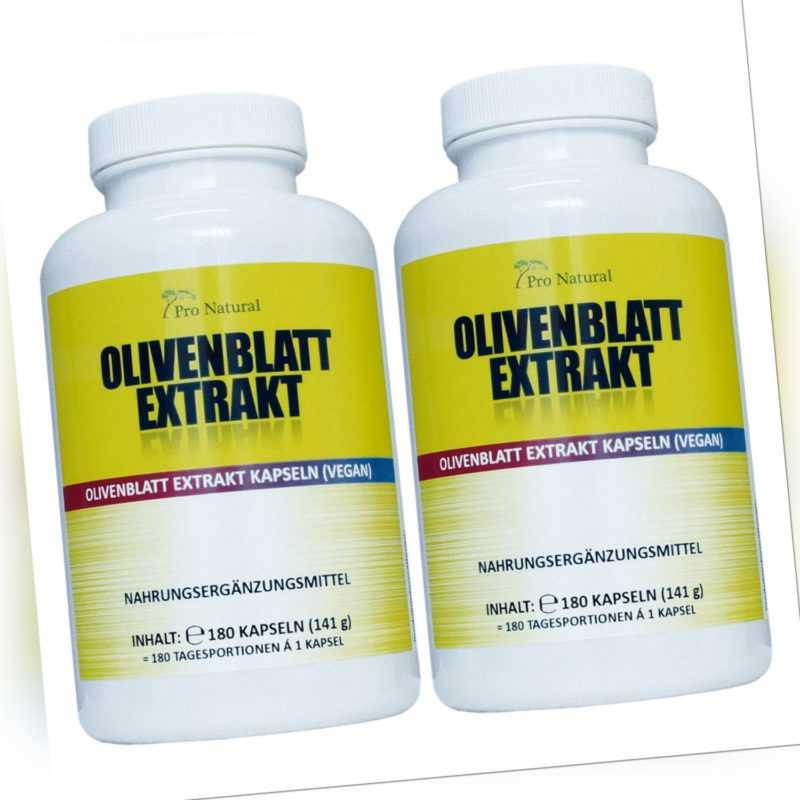 Olivenblatt Extrakt 650mg - 20% (130mg) Oleuropein 360 Kapseln, vegan 2 Packunge