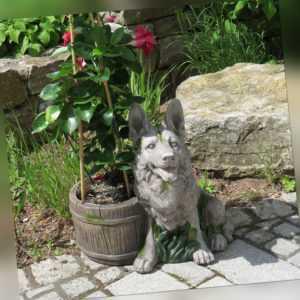 Gartendeko Hund Schäferhund Stein-Optik Gartenfigur Skulptur aus Magnesium-Oxid