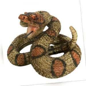 Gartenfiguren Klapperschlange - Deko Figur Schlange groß Tiere - Wetterfest