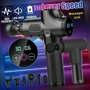 Electric Massage Gun Massagepistole Massager Muscle Massagegerät 4 Köpfe Safe DE