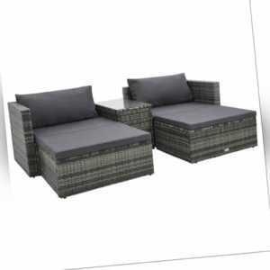 vidaXL Gartenmöbel 5-tlg. Poly Rattan Grau Sitzgruppe Lounge Sofa Ottomane
