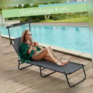Gartenliege Sonnenliege Liege Strandliege klappbar mit Sonnendach ArtLife®