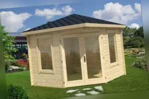 Topgarden Gartenhaus RUBY, 300x300 cm ISO (S), 28 mm Wände, ohne Boden, 5-Eck