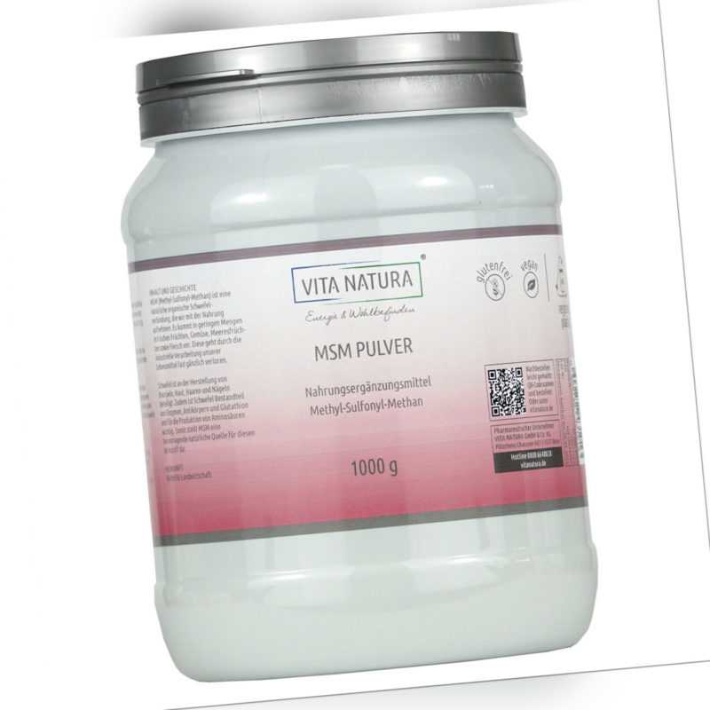 Vita Natura | MSM Pulver | 99,9% rein | Hergestellt in den USA | 1000 g