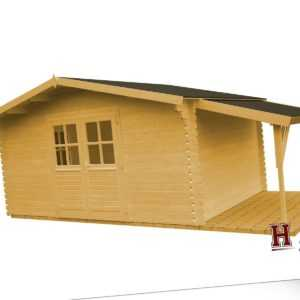 Gartenhaus 440x320 cm + Schleppdach 34 mm Gerätehaus Top Qualität Blockhaus Holz