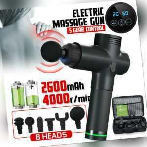 Profi Muskel Massager Gun Massagegerät LCD Elektrisches Massagepistole 6 Köpfe
